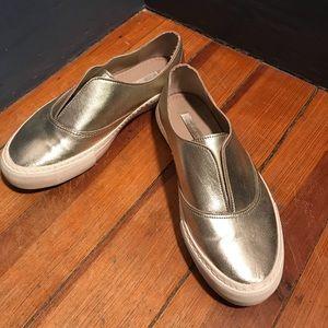 Zara gold slip on sneaker loafers size 7